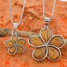 Koa Wood Plumeria Flower Sterling Silver Pendant Koa Wood Plumeria Hawaiian Flower Pendant W By Silvershowroom