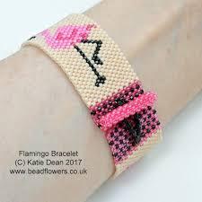 bracelet beads pattern images Flamingo bead pattern for a bracelet katie dean beadflowers jpg
