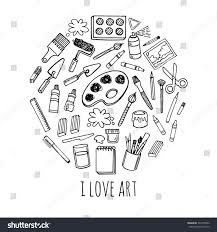 artist tools sketch hand drawn set stock vector 342255002