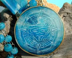 vintage blue stone necklace images Vintage carved blue agate mexican aztec and 50 similar items JPG