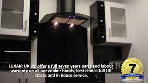 black curved glass kitchen extractor luxair cooker hoods youtube