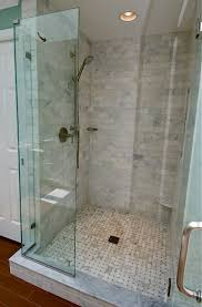 bathroom shower ideas using marble subway tile shower including