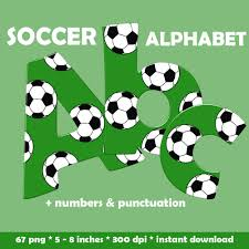 soccer digital alphabet clipart printable sports font with large