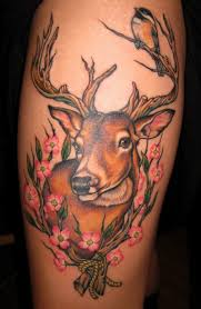 deer bird a cardinal and the flowers and black