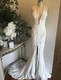 buy deep v neck court train split front mermaid wedding dress