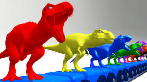 colors for kids to learn with t rex dinosaurs thomas train