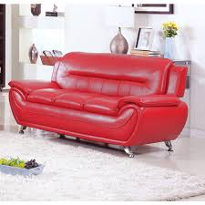ufe norton red faux leather modern living room sofa walmart com