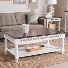 off white coffee table set square shappe wood stained belham