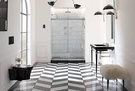 carrara marble subway tile bathroom traditional with black black