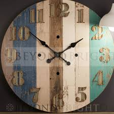 73cm nautical timber unique rustic wall clock