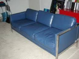 or not vintage blue vinyl sofa with silver chrome u0026 matching