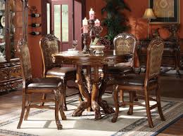 dresden 5 pc round counter height dining table set in brown cherry oak