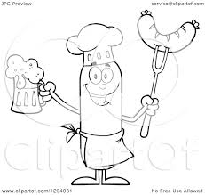 cartoon beer black and white clipart of a cartoon black and white happy sausage chef character