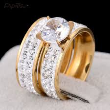 stainless steel wedding ring sets aliexpress buy 2pcs set 2017 new fashion gold color