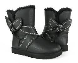 s ugg black leather ugg australia mabel bow black leather sheepskin boots size 6 us ebay