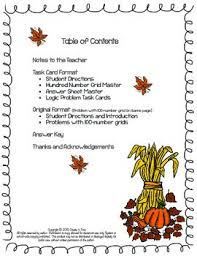 it thanksgiving math logic problems using the 100 number board
