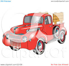wooden pickup truck clipart illustration of a red 1945 ford pickup truck with a spacfe