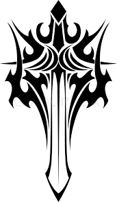 black and white tribal illustration of an ornate winged sword with