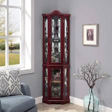 how to arrange a corner china cabinet belleze loraine canted front lighted corner curio cabinet with 5 tier shelves cherry
