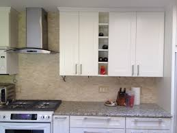 Kitchen Cabinet Stainless Steel Cabinets U0026 Drawer Gray Granite Countertops White Shaker Kitchen