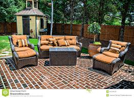 brick patio and furniture stock photo image 54734079