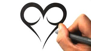 how to draw a simple tribal heart tattoo design 2 youtube