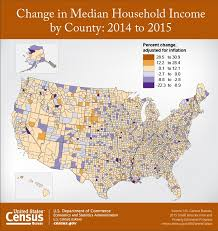 bureau of census and statistics change in median household income by county 2014 to 2015