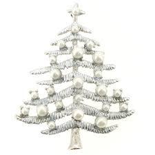 silver metallic pearl tree brooch pin fantasyard