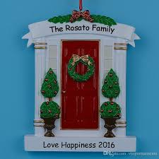 home door polyresin personalized tree ornaments with