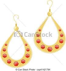 style of earrings vector illustration golden earrings on a white background eps