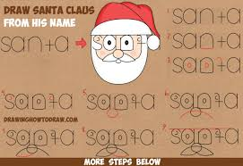 how to draw santa clause from his name word cartoon toon easy