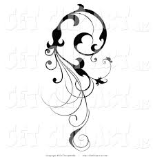vine clipart clip of a vertical black silhouetted scroll vine