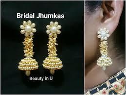 bridal jhumka earrings how to make silk thread bridal earrings at home designer bridal