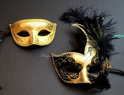 masquarade mask venetian style beautiful feathered masquerade mask pair
