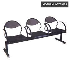 Waiting Area Bench Guard Three Seater Black Metal Tandem Bench Mordani Interiors
