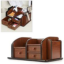 Wood Desk Accessories And Organizers Amazon Com Revolving Wooden 4 Compartment Desktop Office