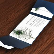 cheap wedding invitation sets unique peacock white and blue pocket wedding invites with free
