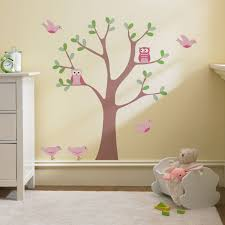 baby room wall decal ideas image of nursery wall decals inspired baby room wall decals ideas with cute pink birds and green leaves tree white fur rugs