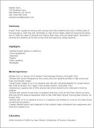 English Teacher Sample Resume by Professional English Tutor Templates To Showcase Your Talent