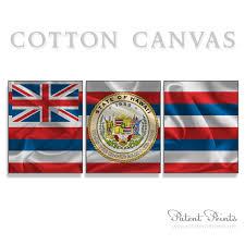 Image Of Hawaiian Flag Hawaii State Seal And Flag Canvas Print