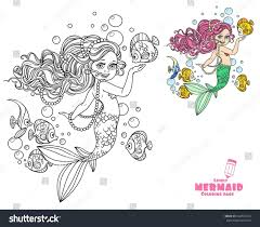 beautiful little mermaid coloring page stock vector 634723154