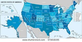 united states of america map with alaska and hawaii usa map federal states including alaska stock vector 571618195