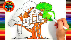 how to draw a tree house for kids dog drawing painting