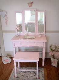 Pink Vanity Table Sweet Empire Pink Vanity With Tri Fold Mirror And Bench