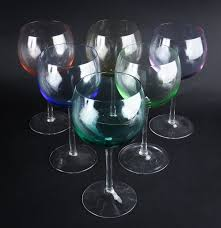 set of colorful hand blown crystal wine glasses ebth
