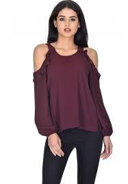 shoulder cut out blouse plum sleeve frill cold shoulder top