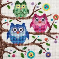 peterson owls canoodles needlepoint kit 5046 123stitch