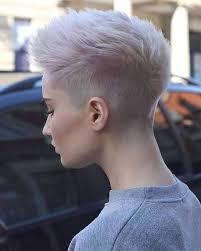 coloring pixie haircut shaved pixie cut fohawk with super light lavender coloring pixie