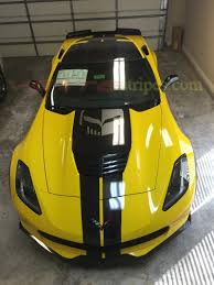 yellow corvette c7 c7 corvette z06 gm length racing stripes vettestripes com