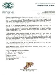 Tax Letter For Donation Central High Project Graduation